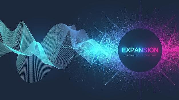 Wissenschaftlicher hintergrund mit dynamischem partikelwellenfluss