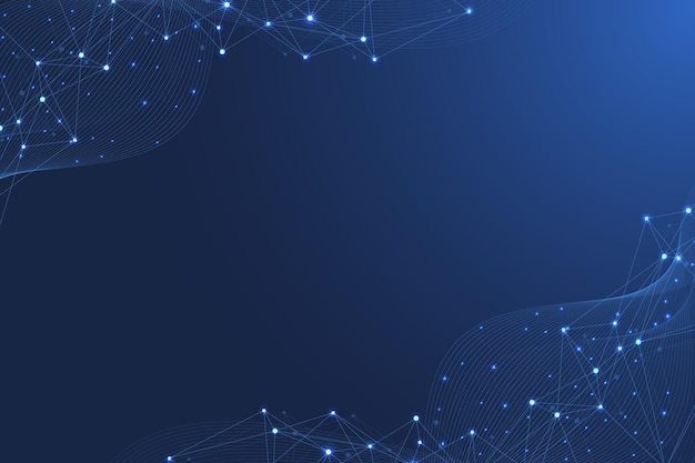 Wissenschaftlicher molekülhintergrund für medizin, wissenschaft, technologie, chemie. tapete oder banner mit dna-molekülen, atomen, neuronen. abstrakter futuristischer hintergrund. vektor-illustration.