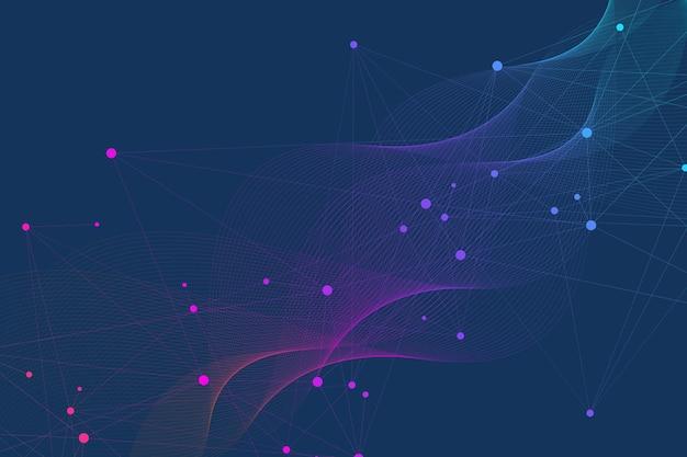 Wissenschaftlicher molekülhintergrund für medizin, wissenschaft, technologie, chemie. tapete oder banner mit dna-molekülen. geometrische dynamische vektorillustration.