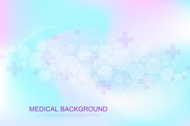 Wissenschaftlicher molekülhintergrund für medizin, wissenschaft, technologie, chemie. tapete oder mit einem dna-molekül. geometrische dynamik