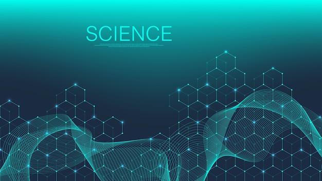 Wissenschaftlicher molekülhintergrund für medizin, wissenschaft, technologie, chemie.