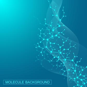 Wissenschaftlicher molekülhintergrund für medizin, wissenschaft, technologie, chemie