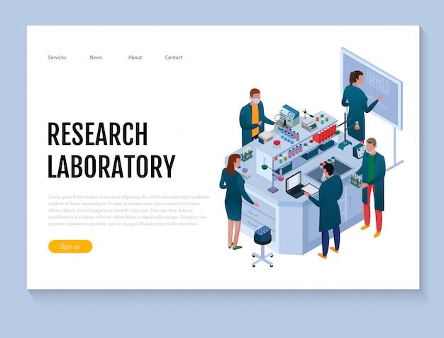 Wissenschaftliches chemisches labor mit isometrischer netzfahne des personals und der forschungsausrüstung auf weiß