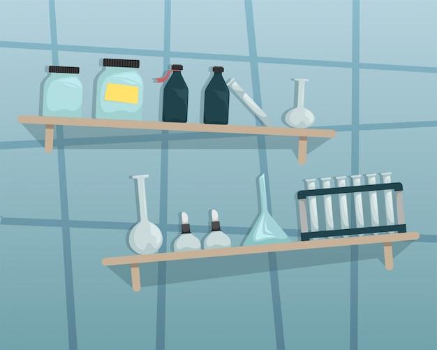 Wissenschaftliches chemisches labor. wandregale mit wissenschaftlichen werkzeugen.