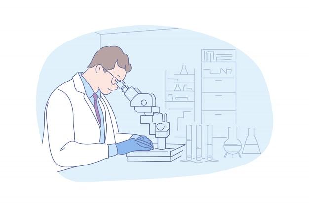 Wissenschaftliches forschen mit mikroskopillustration