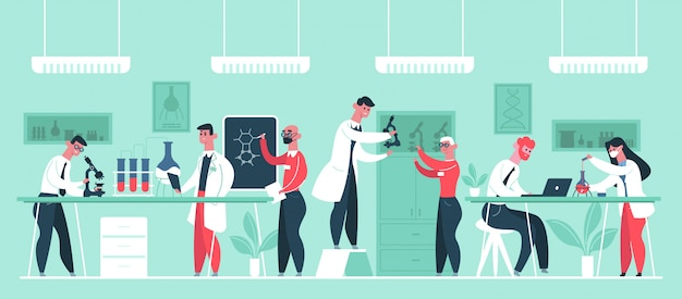 Wissenschaftliches forschungslabor. chemiker wissenschaftler forscher in laborkitteln, labor arbeiter klinik experimente illustration. forschungswissenschaftler, chemielabor, chemie und medizin