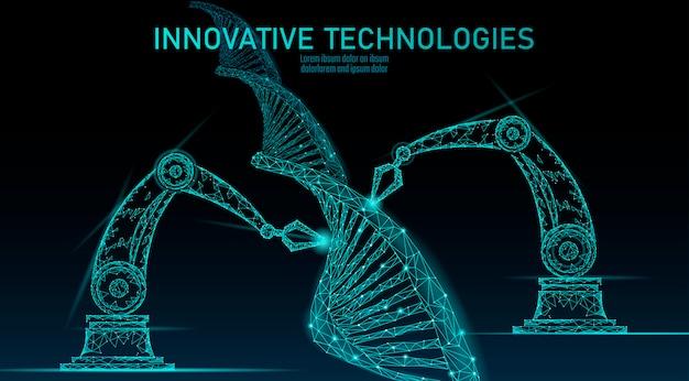 Wissenschaftliches konzept der niedrigpolychemischen dna-synthese. polygon labor chemie gentechnik reaktor. moderne innovation evolution organismus technologie produktlabor roboter ai illustration