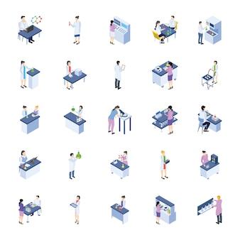 Wissenschaftliches labor isometrische icons pack