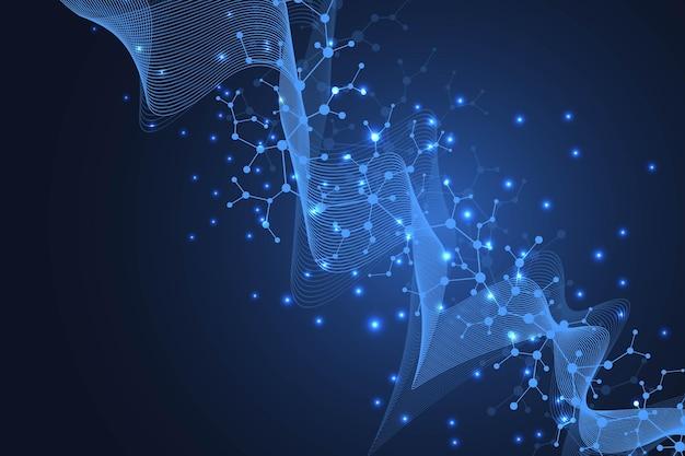 Wissenschaftliches molekül hintergrund dna-doppelhelix-darstellung mit geringer schärfentiefe. mysteriöse tapete oder banner mit dna-molekülen. genetik-informationsvektor.