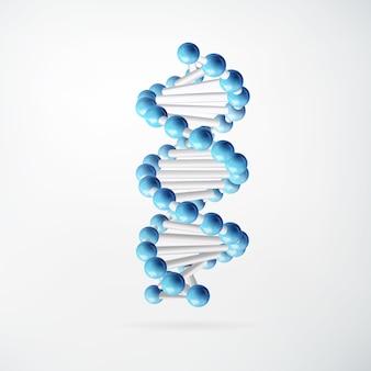 Wissenschaftliches molekulares abstraktes konzept mit blau verbundenen atomen im realistischen stil auf weiß isoliert