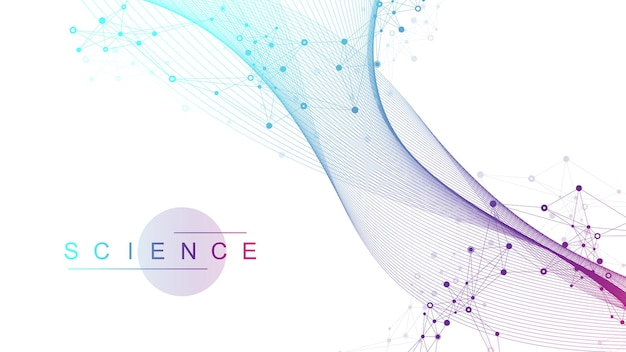 Wissenschaftliches vektorillustrations-gentechnik- und genmanipulationskonzept. dna-helix, dna-strang, molekül oder atom, neuronen. abstrakte struktur für wissenschaft oder medizinischen hintergrund. crispr cas9.