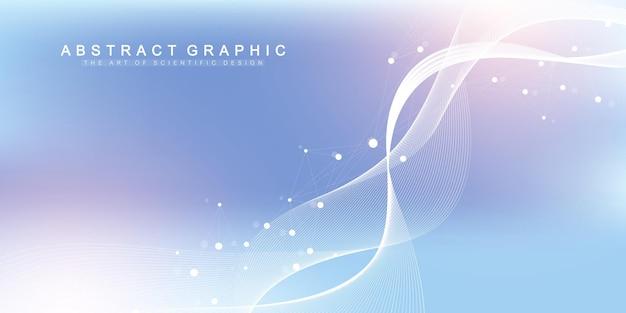 Wissenschaftliches vektorillustrations-gentechnik- und genmanipulationskonzept. dna-helix, dna-strang, molekül oder atom, neuronen. abstrakte struktur für wissenschaft oder medizinischen hintergrund. wellenfluss.
