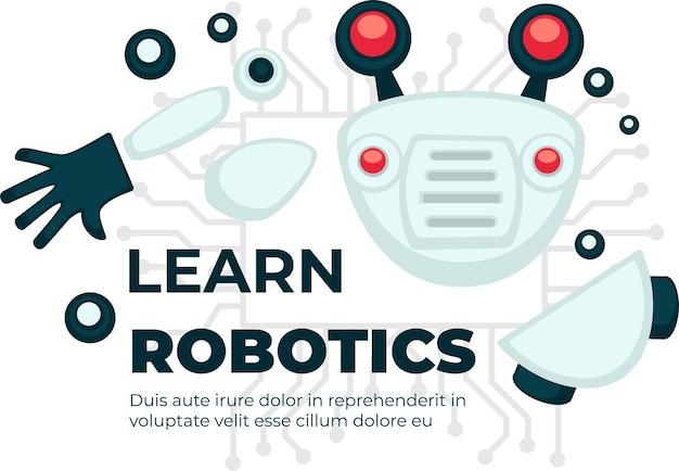 Wissenschaftliches wissen und ausbildung im bereich robotik, roboter lernen. kurse und klassendisziplinen zum erstellen von androiden mit künstlicher intelligenz. kybernetische produktion. vektor im flachen stil