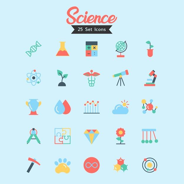 Wissenschafts-ikonen-vektor-flache art