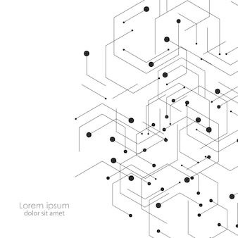 Wissenschafts- und technologiehintergrund mit abstrakten verbindungspunkten und -linien