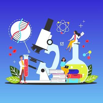 Wissenschafts-web-banner-konzept. idee von bildung und wissen