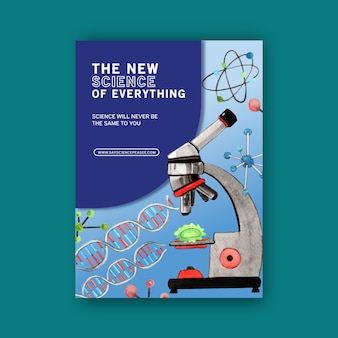 Wissenschaftsdeckbuchentwurf mit mikroskopaquarellillustration.