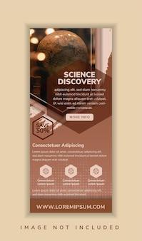 Wissenschaftsentdeckung schlagzeile der roll-up-banner-designvorlage verwenden vertikales layout mehrfarbig braun