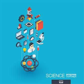 Wissenschaftsintegrierte web-icons. isometrisches fortschrittskonzept für digitale netzwerke. verbundenes grafisches linienwachstumssystem. abstrakter hintergrund für laborforschung und innovation. infograph