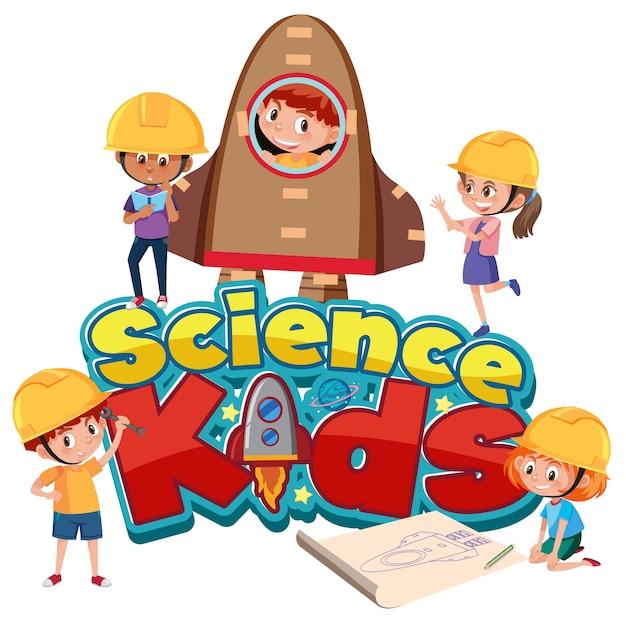 Wissenschaftskinderlogo mit kindern, die ingenieurkostüm tragen