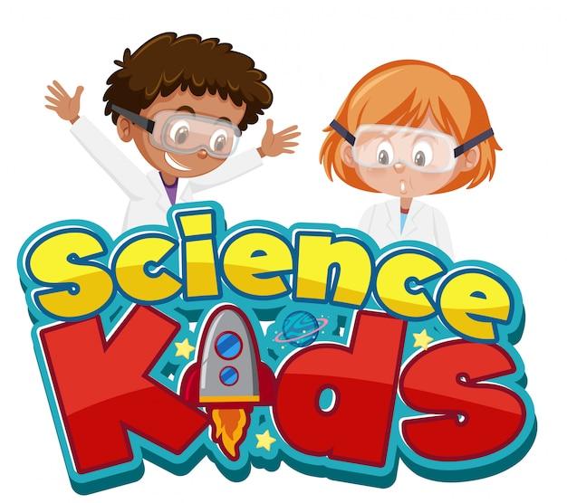 Wissenschaftskinderlogo mit kindern, die wissenschaftler kostüm isoliert tragen