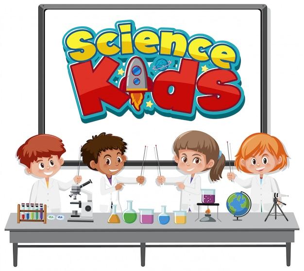 Wissenschaftskinderlogo und kinder, die wissenschaftler kostüm tragen, isoliert