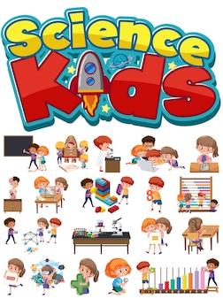 Wissenschaftskinderlogo und satz von kindern mit bildungsobjekten isoliert