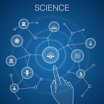 Wissenschaftskonzept, blauer hintergrund. erfindung, physik, labor, universitätsikonen