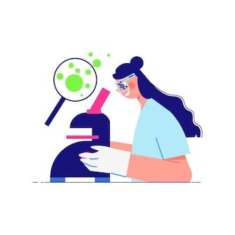 Wissenschaftslaborzusammensetzung mit weiblichem charakter des wissenschaftlers, der im mikroskop schaut