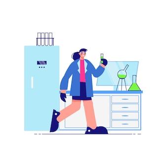 Wissenschaftslaborzusammensetzung mit weiblichem charakter des wissenschaftlers im testlabor