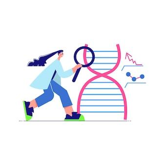 Wissenschaftslaborzusammensetzung mit weiblichem charakter des wissenschaftlers mit handlinse und dna
