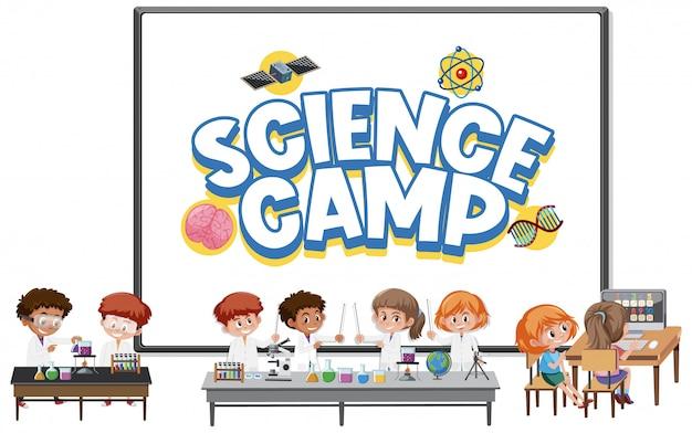 Wissenschaftslagerlogo mit kindern, die wissenschaftler kostüm tragen isoliert
