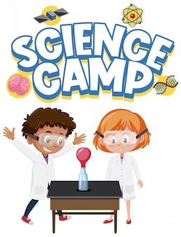 Wissenschaftslagerlogo und zwei kinder tragen wissenschaftler kostüm isoliert