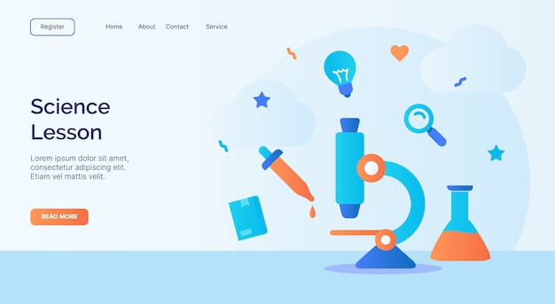 Wissenschaftslektion mikroskop pipette rohr chemische ikone kampagne für web-homepage homepage landing template banner mit cartoon flat style.