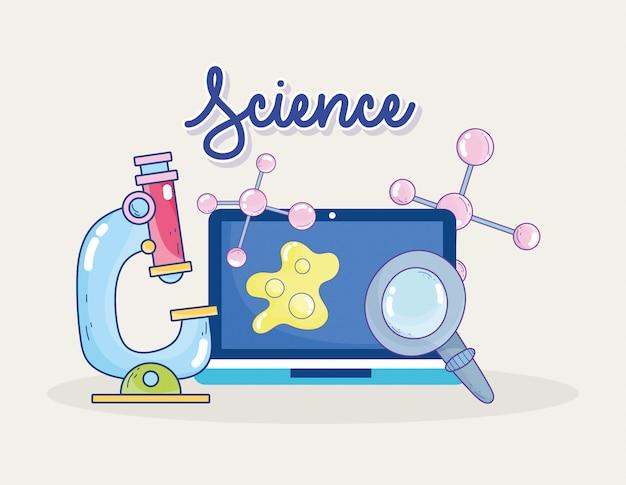 Wissenschaftsmikroskop laptop lupe molekül forschungslabor