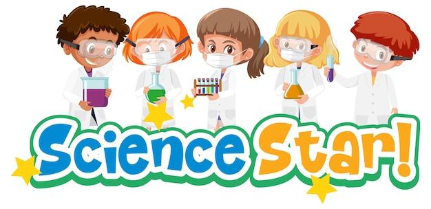 Wissenschaftsstern mit kind, das experimentelles wissenschaftsobjekt lokalisiert auf weiß hält