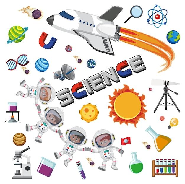 Wissenschaftstextsymbol mit elementen