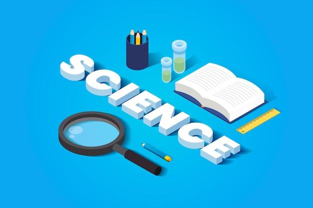 Wissenschaftswortkonzept im isometrischen thema