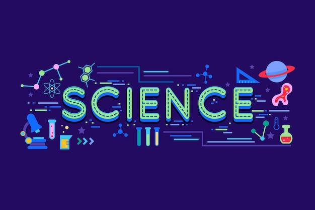 Wissenschaftswortkonzept mit elementpaket