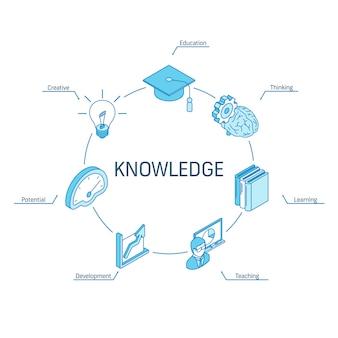 Wissensisometrisches konzept. verbundene linie 3d symbole. integriertes kreis-infografik-design-system. bildung, denken, kreativ, symbole lehren