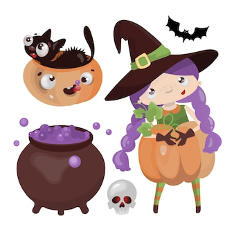 Witch halloween handgezeichnete flache design-zeichentrickfigur horror holiday illustration set für druck