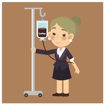 Witz / lustige kaffeeinfusion, geschäftsfrau mit kaffee, aber sie trinkend, spritzte sie stattdessen zeichentrickfilm-figur-vektor ein.