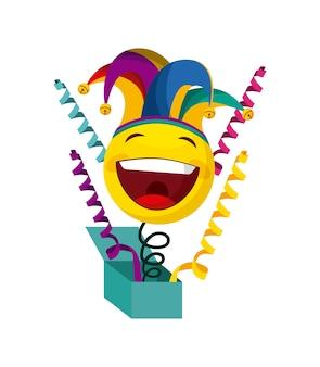 Witzbox mit glücklichem emoji mit spaßvogelhut über weißem hintergrund. aprilscherztageskonzept. vektor krank