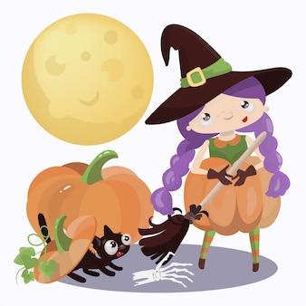 Wizard halloween mystic holiday cartoon hand gezeichnete flache design hexe mädchen illustration