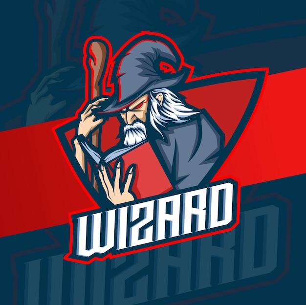 Wizard maskottchen esport logo design