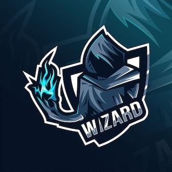 Wizard maskottchen logo esport vorlage