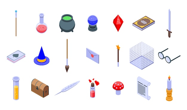 Wizard tools icons set