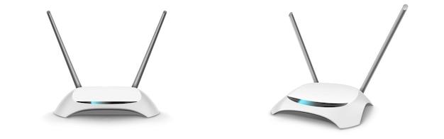 Wlan-router, drahtloses breitbandmodem mit antennen in front- und perspektivischer ansicht.