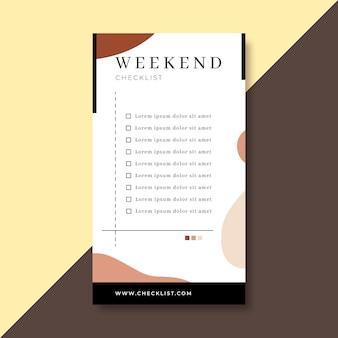 Wochenend-checkliste instagram-story-vorlage