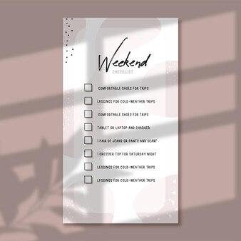 Wochenend-checkliste